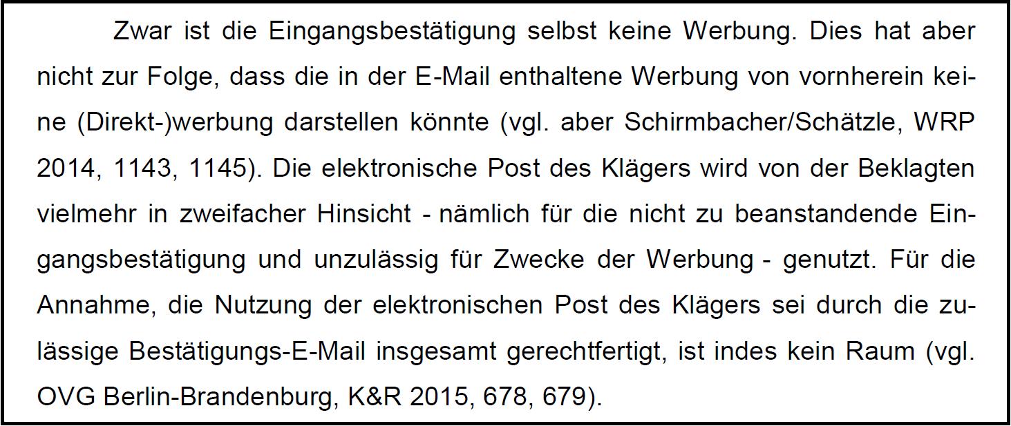 mit der tatsache dass die e mail als solche zulssig ist macht der bgh vergleichswiese kurzen prozess die e mail werde aus zwei grnden versandt 1 fr - Abwesenheitsnotiz Muster